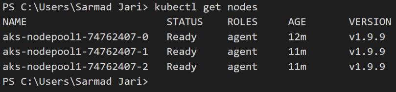 Kubernetes Service (AKS) cluster on Azure,using Azure CLI